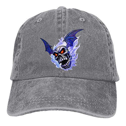 Rundafuwu Baseballmützen/Hat Trucker Cap Skull Burned by Blue Flame Denim Hat Adjustable Women Fitted Baseball Hat -