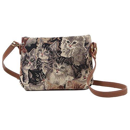 Signare sac de messager sac porté-croisé d'épaule tapisserie mode femme Chat