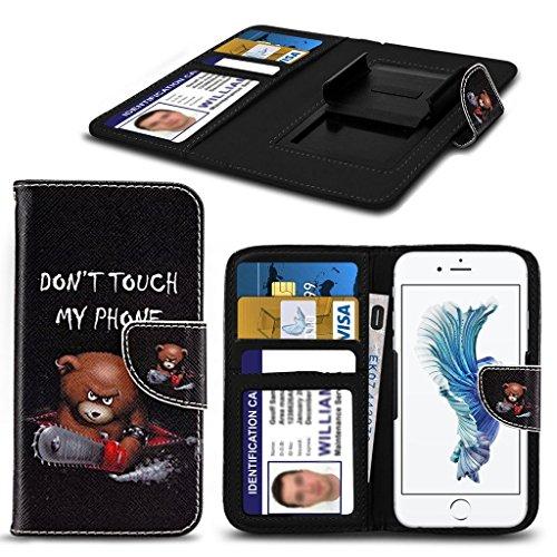 Preisvergleich Produktbild (Do not Touch My Phone nicht Teddybär 140 x 68,3 mm) PRINTED DESIGN Fall für Leagoo M5 Edge-Fall-Abdeckungsbeutel der Qualitäts-Thin-Leder-Buch-Art-Beutel Holdit Federklammer Clip auf Adjustable Buch von i-Tronixs