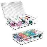 mDesign contenitori in plastica con coperchio a 5 scomparti – ideali per il materiale per decoupage e bricolage, come perline, bottoni o nastri di stoffa – Colore: trasparente - Set da 2