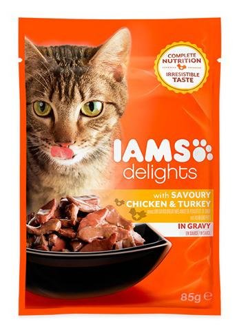 Iams Delights Cat Pouch Chicken Turkey In Gravy 85g (Pack of 24) 1