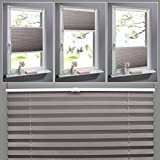 SHINY HOME® klemmfix Plissee Kaffeebraun 100cm breit und 130cm hoch Jalousien Plisseerollo ohne bohren für Fenster Tür mit Klemmträger