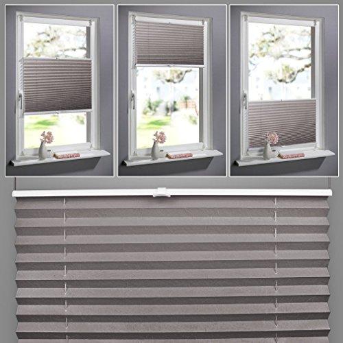 SHINY HOME® Plissee Kaffeebraun 60cm breit und 130cm hoch Jalousien für Fenster Tür klemmfix Plisseerollo ohne bohren mit Klemmträger