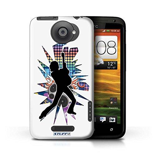 Kobalt® Imprimé Etui / Coque pour HTC One X / Rock n Roll Noir conception / Série Rock Star Pose Pencher Blanc