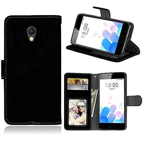 YYhin Schutzhülle für Meizu M5c / A5 Ledertasche, Premium Handytasche aus Leder Brieftasche Cover seitlicher Flip Handyhülle mit weicher TPU-Hülle. KS02/Schwarz