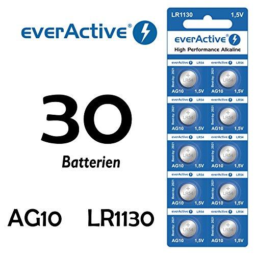 NEMT 30 X Everactive AG10 LR 54 - LR1130 - L1131 - 189 Knopfzelle Uhrenbatterie 1,5 V