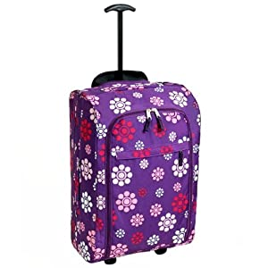 Karabar Super Lightweight Cabin Approved Luggage Bag 55 X 35 X 20 Cm 40 Litres 15 Kg 3 Years Warranty Purple Daisy from Karabar