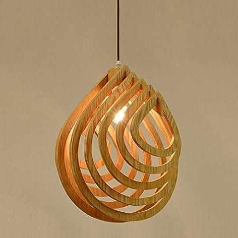 Ztleuchte Modern Wood Pendant Lights Creative Water Drop Shape Luester