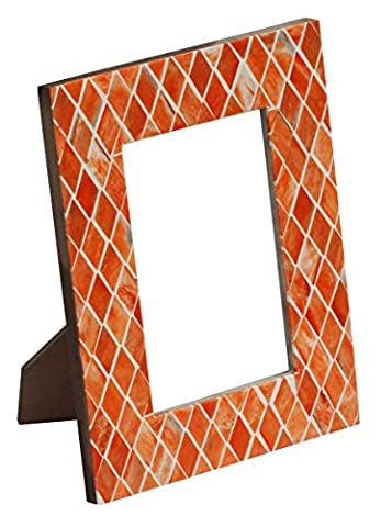 SouvNear Photo / Picture Farme for 4x6 inch ( 10x15cm) Photos Handmade Rectangular Orange Wood & Bone Inlay with Diamond Shaped Patterns – Decorative Tabletop Picture Stands
