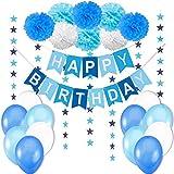 Geburtstagsdeko Jungen / Junge Kindergeburtstag Deko / Geburtstag Dekoration Set. Happy Birthday Wimpelgirlande,8 Blumenpuscheln,6 Meter Girlande mit Sternen,12 Ballons Blau Weiß Türkis