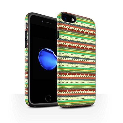 STUFF4 Matte Harten Stoßfest Hülle / Case für Apple iPhone 8 / Grün/Rot Muster / Aztekische Stammes Muster Kollektion Grün/Rot