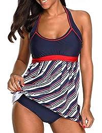 86f0b2c5d3 Gihorry Womens Stripe Bathing Suit 2Pcs Bikinis Halter Lace Up Swimwear Sets  High Waist Swimsuits Sleeveless Tankinis Beachwear Top + Brief…
