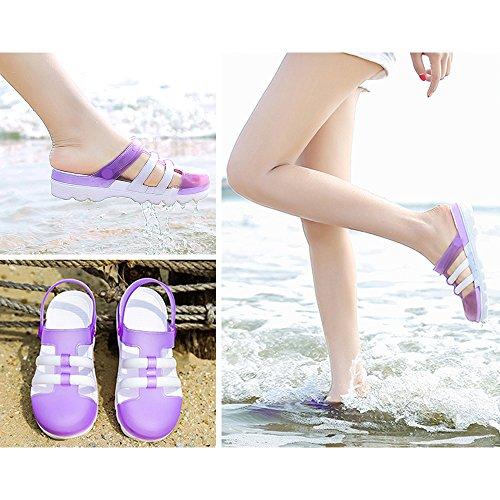 Eastlion Weibliche Sommer Verfärbung Sandalen Gelee Schuhe Dicke untere  Strand Hausschuhe Violett