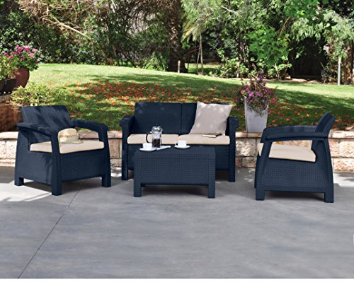 Keter Corfu Outdoor 4 Seater Rattan Furniture Set with Accent Table – Graphite with Cream Cushions
