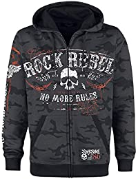 Rock Rebel by EMP Mask of Sanity Capucha con Cremallera Gris Oscuro