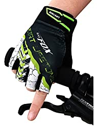Handschuhe Ciclismo Guantes Half Finger Outdoor Sports para hombre.Man Ciclismo Guantes Half dedos Ciclismo antideslizante stoßabsorbierendem Gel Pad Breath Guantes de ciclo, color verde, tamaño M