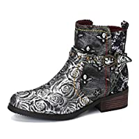 gracosy Ankle Boots for Womens Winter Flat Chelsea Boots Ladies Buckle Casual Leather Boots Peep Toe Comfort Retro Boots Shoes Outdoor Anti-Slip Walking Shoes Riding Biker Side Zip Short Western Boots