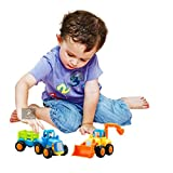 #5: Friction Powered Cars Push and Go Car Construction Vehicles Toys Set of 2 Tractor,Bulldozer Push Back Cartoon Play for 1 2 3 Years Old Boys Toddlers Kids Gift