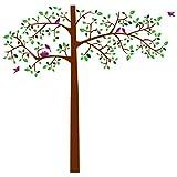 Wandtattoo Wandbild für Wohnzimmer oder Schlafzimmer. Stilvolles Baum Motiv Blätter Zweige u. Vögel modern und stylisch Wandsticker für Erwachsene Wandaufkleber zum Gestalten einer individuellen Wand