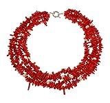 Charming Modern-Twist Koralle Rot und weiße Süßwasserzuchtperle Halskette Halsreif 40 + 7 cm Verlängerung-Lieferung in schöner Geschenkbox,