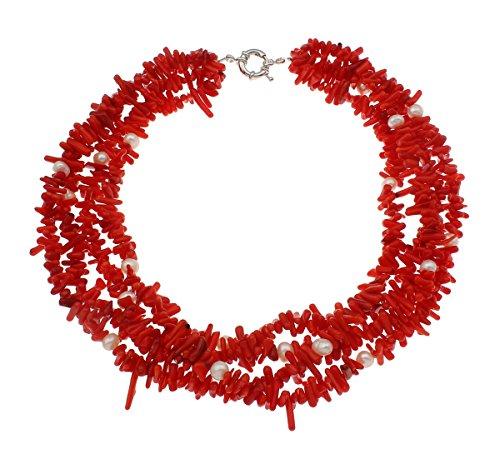 Gargantilla de coral rojo y perlas blancas (46cm) ,en caja de regalo