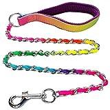 Dogs Kingdom Rainbow Stahl Kette Hund Pet Walking LEASHES führt für Klein/Groß/Mittel, Auslöser Gesamtlänge