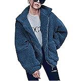 Kwolf, Giacca da Donna in Pile con Pelliccia Sintetica, Cappotti Casual da Esterno, Cardigan Aperto Davanti con Tasche Royal Blue XL