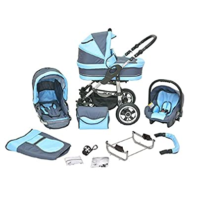 Kombi Kinderwagen Premium 3 in 1 - Kombikinderwagen Buggy graphit-hellblau