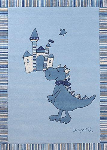 ESPRIT Dragon und Castle Moderner Markenteppich, Polyacryl, Blau, 180 x 120 x 1 cm