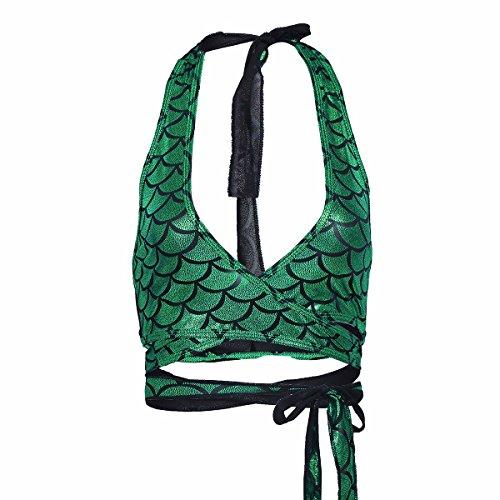 YiZYiF Damen Bikini Oberteile Meerjungfrau Fisch Skala Hologram Stretch Weiches Vest Wetlook Bustier Bra BH Clubwear Gogo Kostüm Grün One Size