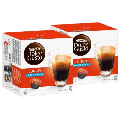 Nescafé Dolce Gusto Caffè Lungo Decaffeinato, 2 Confezioni, 2 x 16 Capsule