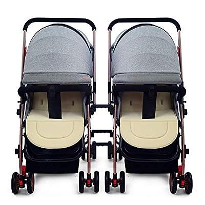 Arbre Niñito Cochecito de bebé Gemelo del Carro de bebé, el Amortiguador de Choque Plegable Desmontable Ligero del Segundo niño Puede Sentarse el Cochecito de bebé Doble, B Carro