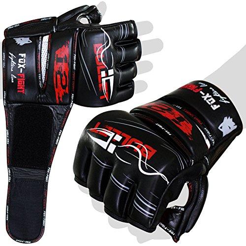 Bullet12 MMA Handschuhe professionelle hochwertige premium Qualität echtes Leder Boxhandschuhe Sandsack Training Grappling Sparring Muay Thai Kickbox Freefight Kampfsport BJJ Sandsackhandschuhe Gloves FOX-FIGHT L schwarz