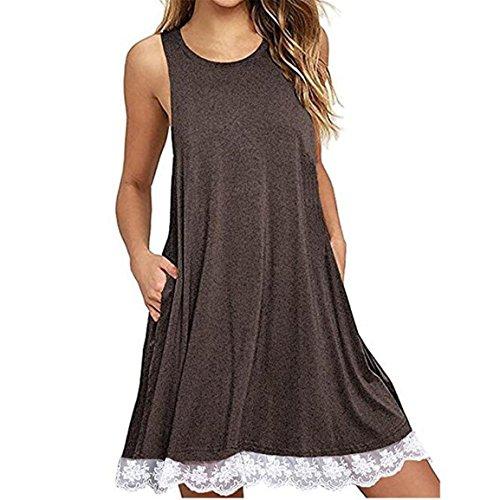 Moonuy Damen Kleid, Frauen Sleeveless Ra-Ra Rock, O-Ausschnitt Casual Lace Overknee Kleid Loose Party-Kleid, über dem Knie, Minikleid, Regular Lace Elegant Jumper Rock (Kaffee, EU 34/Asien S)