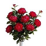 Fleurs Artificielles Fleurs artificielles Fleurs Bouquets Vintage Faux Pivoine soie Bouquet de mariée de soirée de mariage festival Bar Décor d'élégance à Votre ( Couleur : Rouge , Taille : 14cm )