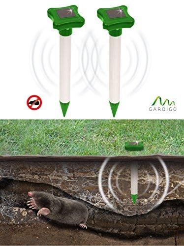 Gardigo Solar Maulwurfabwehr 2er Set, Maulwurfschreck, Maulwurfbekämpfung, Wühlmausschreck, mit Alu-Stab und IP56, 700 m² Wühltierfrei