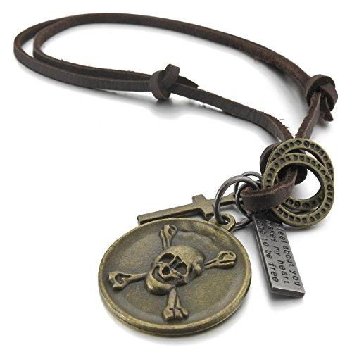 MunkiMix Metalllegierung Legierung Echtleder Anhänger Halskette Silber Braun Gold Golden Kruzifix Kreuz Totenkopf Schädel Herren