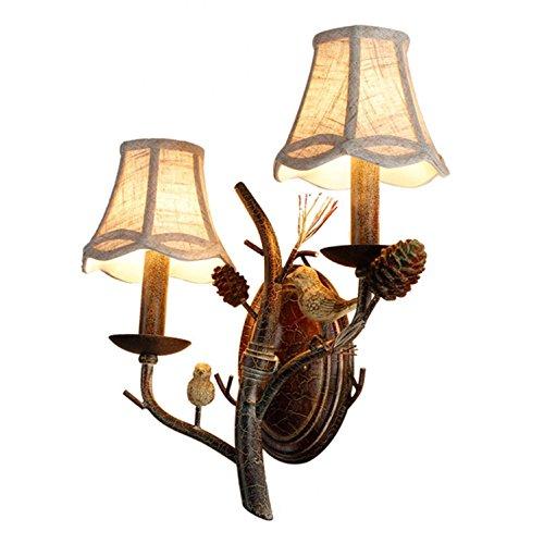 AMZH Vogel Wand Lampe Harz Vogel Nest Kerze Wand Lampe Wohnzimmer Schlafzimmer Nachttisch Leinen Schatten Cafe Vogel Pinien Mutter Wand Lampe E14 110V-220V, 220 * 400