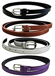 Glamio Girl's PU Leather Belts Combo of 4 (Black,Brown ,White & Purple)(GLA/WOMENBELTS/BKBRWHBLU)