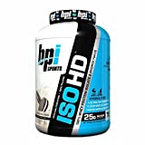 BPI Sports ISO HD Whey Protein Isolate and Hydrolysate, Cookies and Cream, 5 Pound by BPI Sports