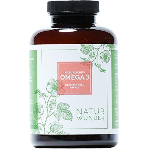 Omega 3 aus Fischöl von NATUR WUNDER | Natürlich | 180 Kapseln | 3 Monatsvorrat | EPA und DHA Fettsäuren | 600mg reines Omega 3 pro Tagesdosis | Hochdosiert | Premiumqualität | Hergestellt in Deutschland
