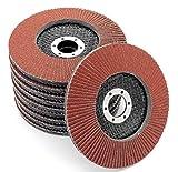 Lot de 10 disques abrasifs à lamelles Ø 125 mm K 40 (brun) ou marron ponçage Mop