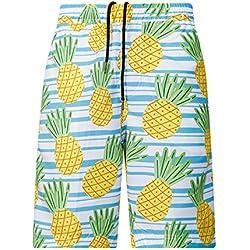 Bradlwy Bañador–Pantalón Corto beachs Tropicales Estilo Bañador para Hombre Corto Pantalones Verano Pantalones Tropicales Piña Pantalones de natación para Hombres Niño, Small