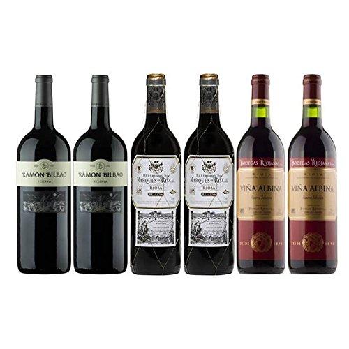 Pack Vino Rioja Clasicos Reserva Gourmet 6 Botellas. 2 Ramon Bilbao Reserva, 2 Marques De Riscal Reserva Y 2 Viña Albina Reserva