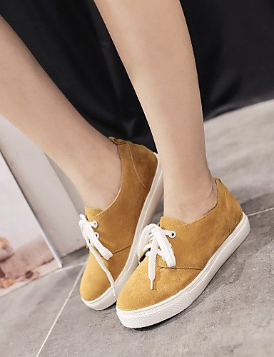 ZQ hug Scarpe Donna - Stringate - Casual - Punta arrotondata - Piatto - Finta pelle - Nero / Marrone / Giallo / Rosso / Grigio , gray-us8 / eu39 / uk6 / cn39 , gray-us8 / eu39 / uk6 / cn39 yellow-us6.5-7 / eu37 / uk4.5-5 / cn37