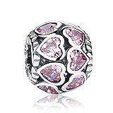 Love All Around, Abalorio de fantasía color rosa de plata de ley 925, abalorios para pandora, compatible con pulseras europeas