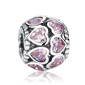 """Ausgefallener, rosafarbener Charm-Anhänger """"Love All Around"""", aus 925er-Sterlingsilber, für Pandora und europäische Armbänder geeignet"""