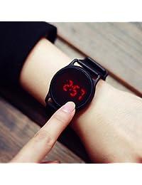 fenkoo Hombre Reloj de pulsera digital LED/Pantalla Táctil/Resistente al agua banda de silicona negro Marca de, blanco y plateado