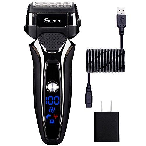 Surker 9008 afeitadora eléctrica para hombres,uso en húmedo y seco, carga con USB, Batería de Litio