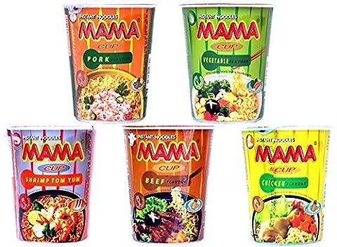 Probierset Mama Cup Asia Nudeln - Thai Nudelsuppe Fertiggericht - 5er Pack (5 x 70g) (Thai Nudeln)